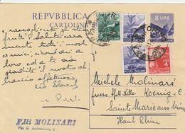 Italie Entier Postal Pour La France 1948 - Interi Postali