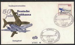 """N139   Germany FDC 1976 Nr.878 """"50 Jahre Deutsche Lufthansa"""" - FDC: Buste"""