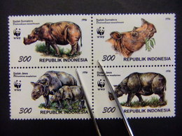 INDONÉSIE 1996 WWF Protection Des Animaux En Extinction Rhinocéros Yvert Nº 1474 / 77 ** MNH - Indonesia