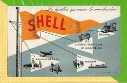 BUVARD & Blotting Paper : SHELL Pompe A Essence Tracteur Avion - Automotive