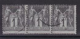 D815/ SAGE N° 83 BANDE DE 3 OBL - 1876-1898 Sage (Type II)