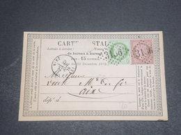FRANCE - Carte Précurseur De Riez Pour Aix En 1875 , Affranchissement Bicolore Au Type Cérès - L 12504 - Postal Stamped Stationery