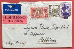COLONIE ITALIANE BUSTA POSTA AEREA ESPRESSO CON LIBIA ESPRESSO L.1,25 + 50 C. + CIRENAICA P.A. 50 C. P.a. N Per Bibbiena - British Occ. MEF