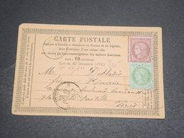 FRANCE - Carte Précurseur De Rebais Pour Paris En 1875 , Affranchissement Bicolore Au Type Cérès - L 12506 - Postal Stamped Stationery