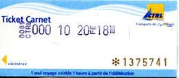 Ticket Bus Et Bateau De Lorient - Morbihan - France - Autobus