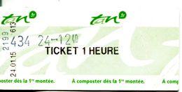 Ticket (unité) Tramway Et Bus - Nantes - Loire Atlantique - France - Strassenbahnen