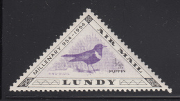 Lundy 1954 MNH #119 1/2p Ring Ouzel Dot On Lower Left Frameline - Emissions Locales