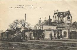 61  CONDE Sur HUISNE  Vue Générale De La Gare Train  1915 - Gares - Avec Trains