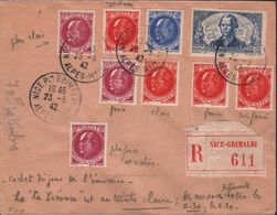 FRANCE - RECO 1942 NICE-GRIMALDI YT #541 505-507 - Covers & Documents