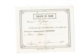 Vieux Papiers DIOCESE DE DIJON Paroisse De Saint Joseph - Sacrement CONFIRMATION Monseigneur JACQUES LOUIS MONESTES 1913 - Religion & Esotérisme
