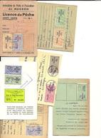 6  Cartes De Pêche Permis De Pêche  1975, 1973, 1970, 1962, 1964 Supplément Dimanche, 1966 - Vecchi Documenti