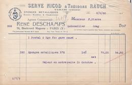 Facture Serve Nicod & Th Rauch éponges Métalliques Tarare 1930 - France