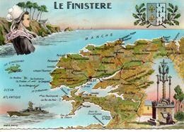 Finistère 29 Contour De Département Géographique Routes Vins Communes Coiffes Costumes Traditions Coutumes Régionalisme - Landkaarten