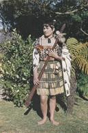 Postcard New Zealand Maori Maid With Taiaha My Ref B22152 - New Zealand