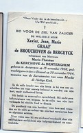 Xavier De Brouchoven De Bergeyck Echtgenoot De Kerchove De Denterghem °Antwerpen 1908 +1964 Brussel  Namur De BORCHGRAVE - Décès
