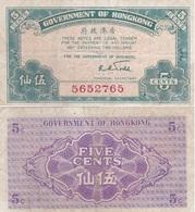 Hong Kong - 5 Cent 1941 VF Lemberg-Zp - Hong Kong