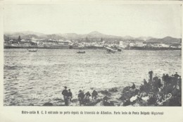 NC-3 Seaplane Enters Ponta Delgada Azores After Trans-Atlantic Flight C1919 Vintage Postcard - 1919-1938: Entre Guerres