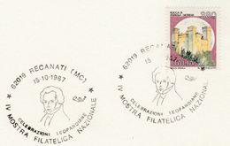 1987 LEOPARDI Philosopher  EVENT COVER Recanati  Card Stamps Italy Philosophy Poetry - Sciences