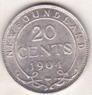Canada. Terre-Neuve / Newfoundland. 20 Cents 1904 H. Edward VII. Argent - Canada