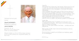 Devotie - Devotion - Jozef Janssen - Dilsen 1919-2004 - Dauven - Oudstrijder - K.N.S.B. - Obituary Notices