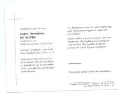 Devotie - Devotion - André De Norre - Sint-Lievens-Esse 1923 - Anderlecht 1993 - Goemeyne - Oorlogsvrijwilliger - Obituary Notices