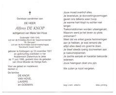Devotie - Devotion - Alfons De Knop - Kobbegem 1921 - Jette 1996 - Van Hove - Oudstrijder - Lid Duivenmaatschappij - Obituary Notices