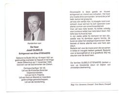 Devotie - Devotion - Jozef Gijbels - Budel 1921 - Hasselt 1990 - Stienaers - Oorlogsvrijwilliger - Obituary Notices