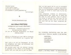 Devotie - Devotion - Jan Peeters - Hoeilaart 1920 - Veltem-Beisem 1981 - Van Roey - Oudstrijder - Obituary Notices