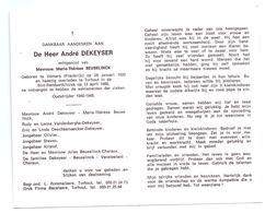 Devotie - Devotion - ANdré Dekeyser - Vémars 1920 - Torhout 1986 - Beuselinck - Oudstrijder - Obituary Notices