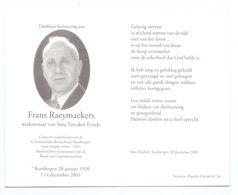 Devotie - Devotion - Frans Raeymaekers - Keerbergen 1920 - 2003 - Van Den Eynde - Oudstrijder - Onderwijzer - Obituary Notices