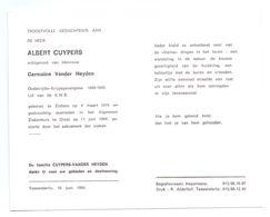 Devotie - Devotion - Albert Cuypers - Zichem 1919 - Diest 1994 - Vander Heyden - Oudstrijder - Obituary Notices
