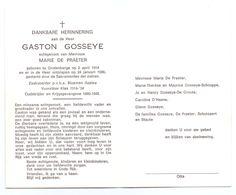 Devotie - Devotion - Gaston Gosseye - Grotenberge 1914-1986 - De Praeter - Oudstrijder - Zaakvoerder Bloemen Azalea - Obituary Notices