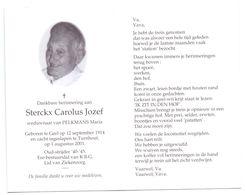 Devotie - Devotion - Jozef Sterckx - Geel 1914 - Turnhout 2001 - Pelkmans - Oudstrijder - Obituary Notices