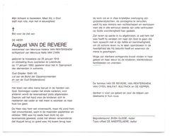 Devotie - Devotion - August Van De Reviere - Vosselare 1918 - Lotenhulle 1992 - Van Renterghem-Van Oyen - Oudstrijder - Obituary Notices