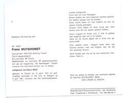 Devotie - Devotion - Frans Muyshondt - Tisselt 1918 - Edegem 1991 - Benz - Oudstrijder - Obituary Notices