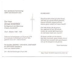 Devotie - Devotion - Emiel Andries - Keerbergen 1918 - Moorsele 1995 - Algoet - Oudstrijder - Obituary Notices