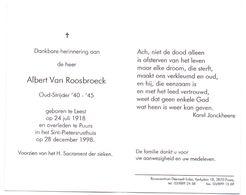 Devotie - Devotion - Albert Van Roosbroeck - Leest 1918 - Puurs 1998 - Oudstrijder - Obituary Notices