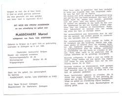 Devotie - Devotion - Marcel Plasschaert - Strijpen 1918 - Zottegem 1989 - Van Sterthem - Oudstrijder - Obituary Notices
