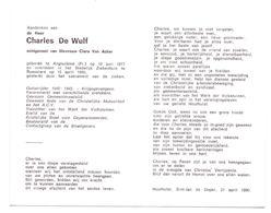 Devotie - Devotion - Charles De Wulf - Angoulême 1917 - Roeselare 1990 - Van Acker - Oudstrijder - Gemeenteraadslid - Obituary Notices
