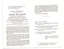 Devotie - Devotion - Adolf De Leeuw - Heldergem 1917 - Aalst 1981 - Van Der Haegen - Oudstrijder - Obituary Notices