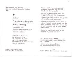 Devotie - Devotion - Franciscus Blockmans - Nossegem 1916 - Jette 1994 - Vandenbemden - Oudstrijder - Obituary Notices