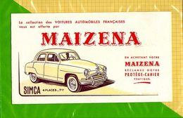 BUVARD : Voitures Automobille Simca 4 Places 7CV MAIZENA - Automotive