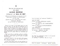 Devotie - Devotion - Alouis Beerens - Grotenberge 1915 - Godveerdegem 1989 - De Smet - Oudstrijder - Obituary Notices