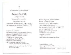 Devotie - Devotion - Petrus Decrick - Herfelingen 1915 - Gooik 1993 - De Loecker - Oudstrijder - Obituary Notices