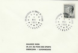 1969 Luxembourg COUNCIL OF EUROPE 20th ANNIV EVENT COVER Stamps European - Luxembourg
