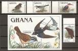 AVES - GHANA 1989 - 1022/25+H142 - MNH ** - Swallows