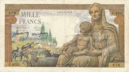H19 - Billet - 1000 FRANCS  - DÉESSE DEMETER - 1871-1952 Antiguos Francos Circulantes En El XX Siglo