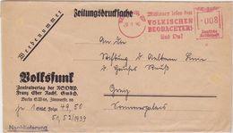 """GERMANY 1940 (29.1.) NEWSPAPER WRAPPER BERLIN METERMARK """" Völk. Beobachter """" VOLKSFUNK - Otros"""