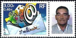 France 2000 - 3nd Millenium + Label Man's Face ( Mi 3505 - YT 3365A ) MNH** - France