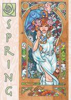 The Four Seasons Risqué Art Nouveau 5 Postcard Set - Modern - Noble Hardesty Artist - Pin-Ups